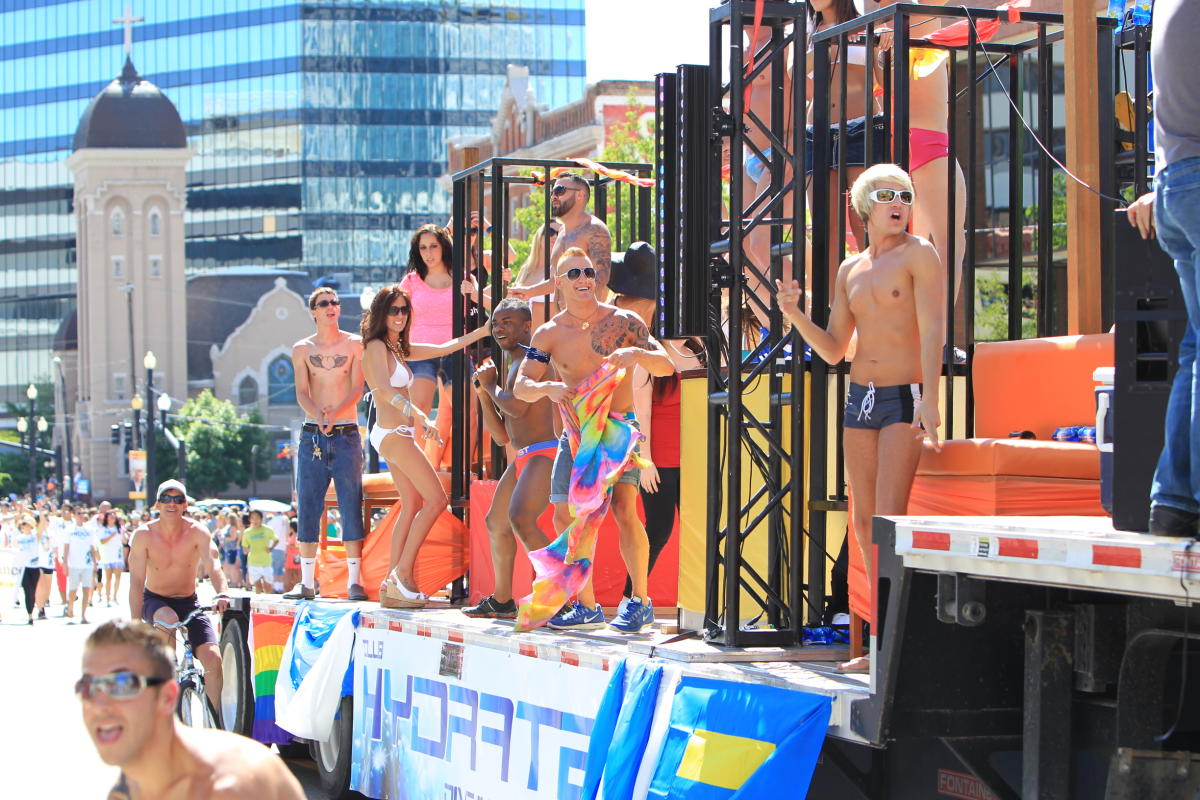 Dancers on Float in Pride Parade