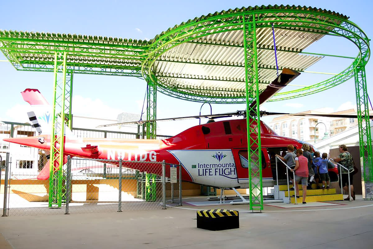 Intermountain Healthcare Saving Lives helicopter at Discovery Gateway