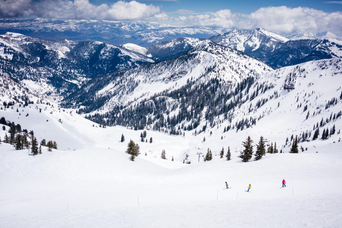 Scenic view of skiers at Snowbird