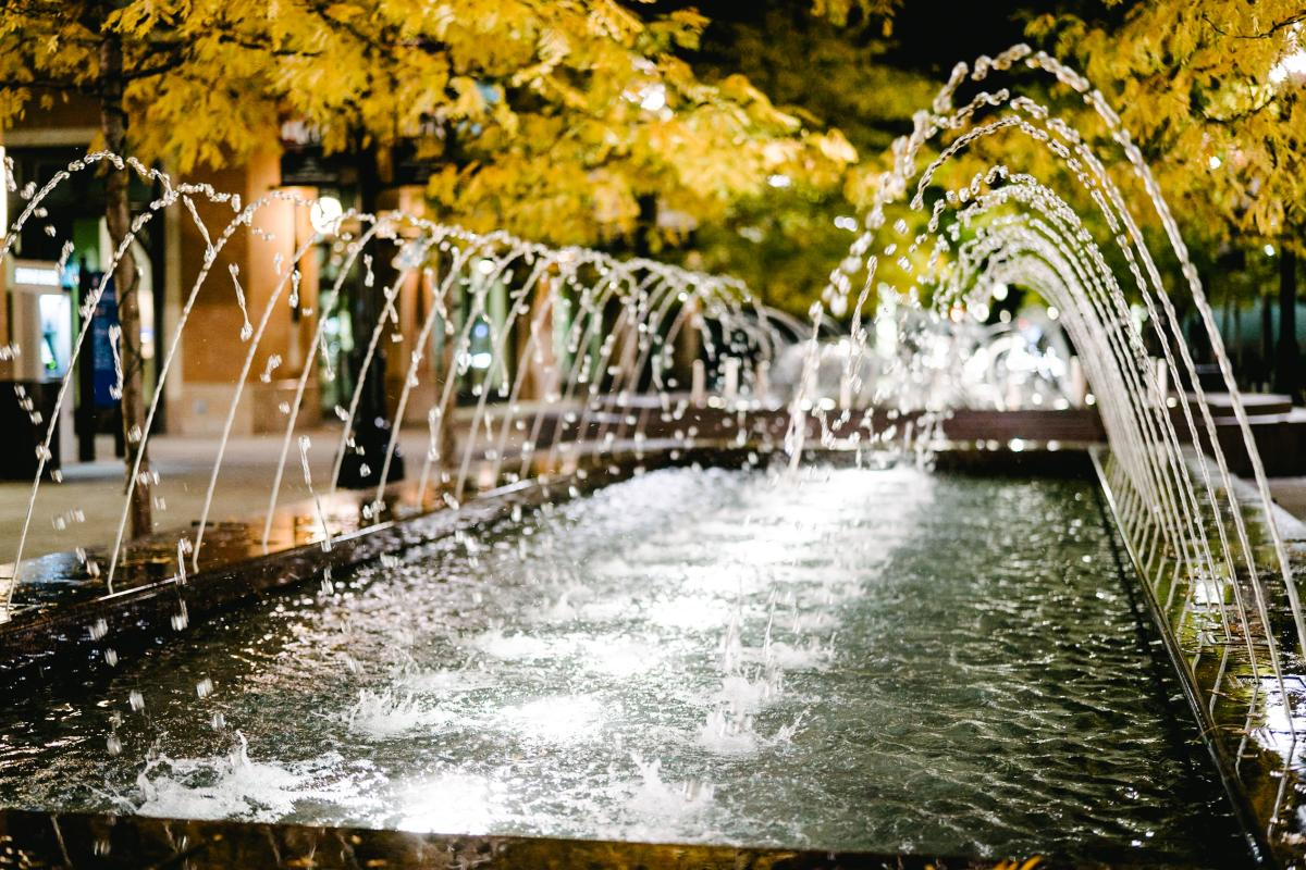Enjoy the peaceful fountains at City Creek Center while you admire the Autumn leaves