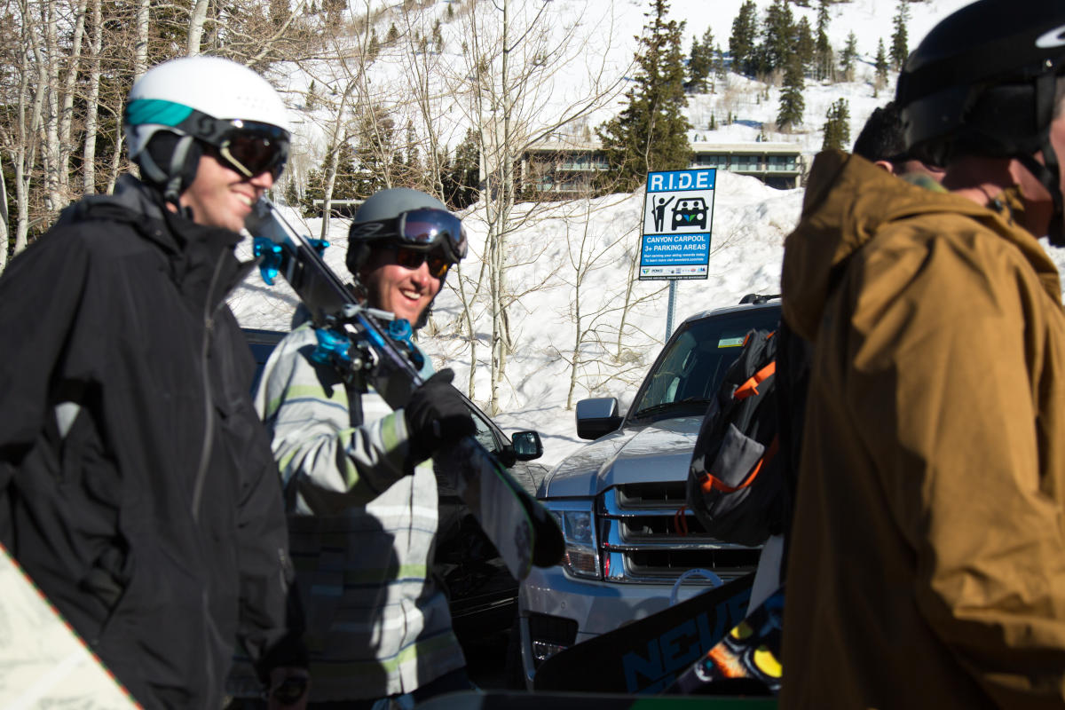 Skiiers carpooling with the R.I.D.E program at Snowbird
