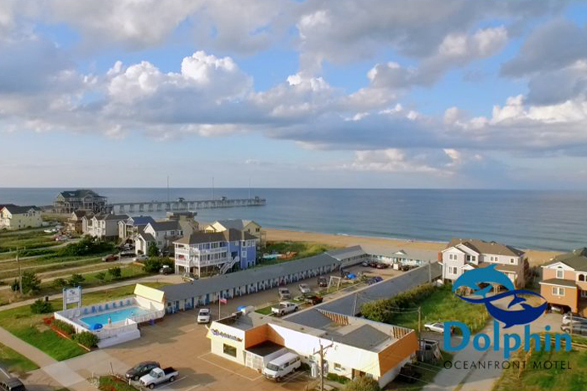 Aerial view of the Dolphin Oceanfront Motel, Outer Banks, NC