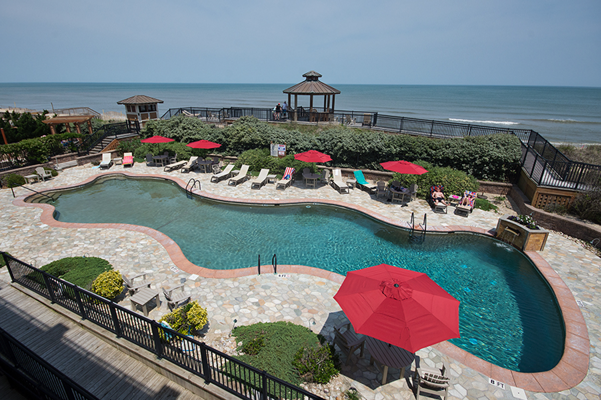 The pool at a resort managed by First Flight Rentals in Outer Banks, NC