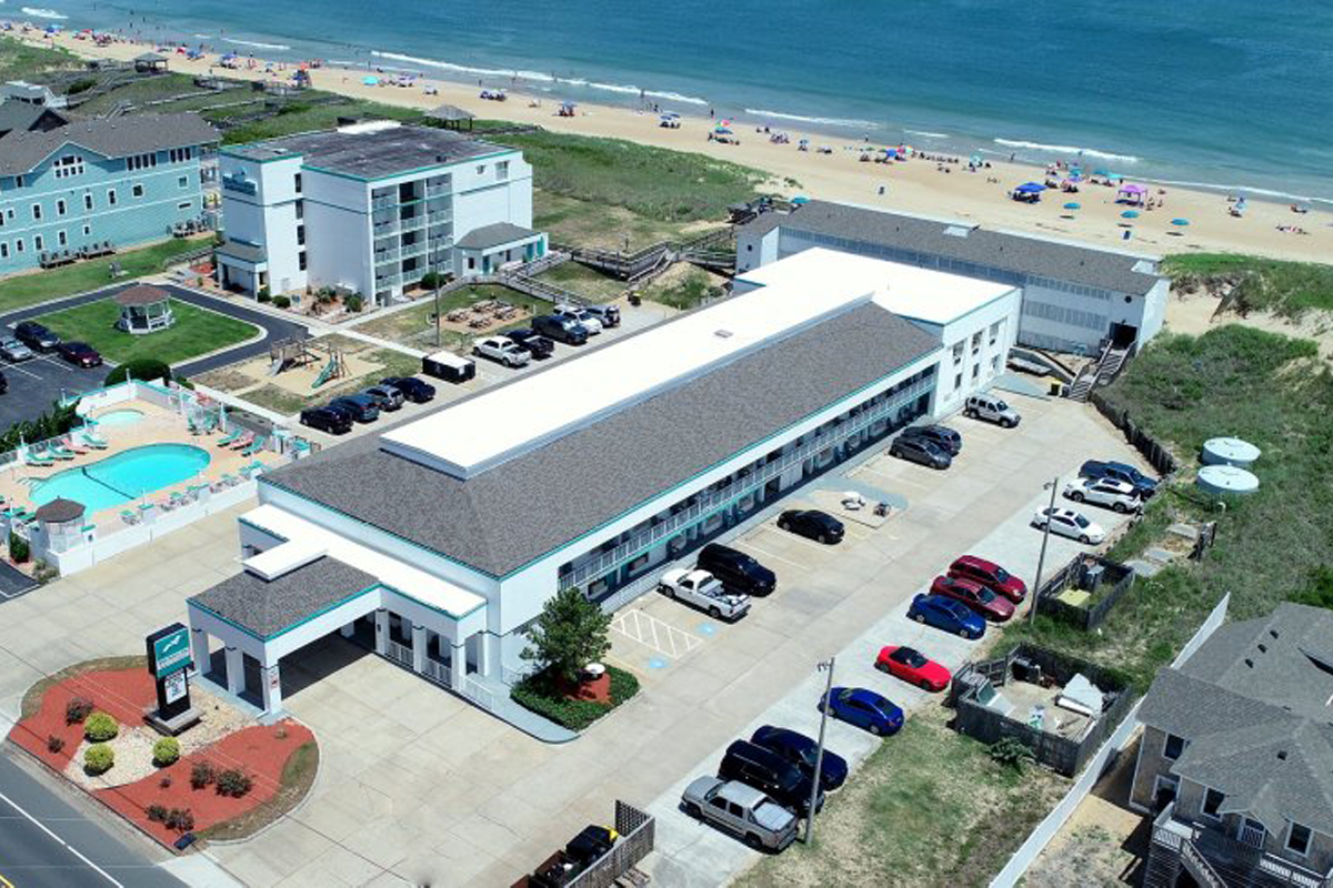 Aerial view of the John Yancy Oceanfront Inn, Outer Banks, NC