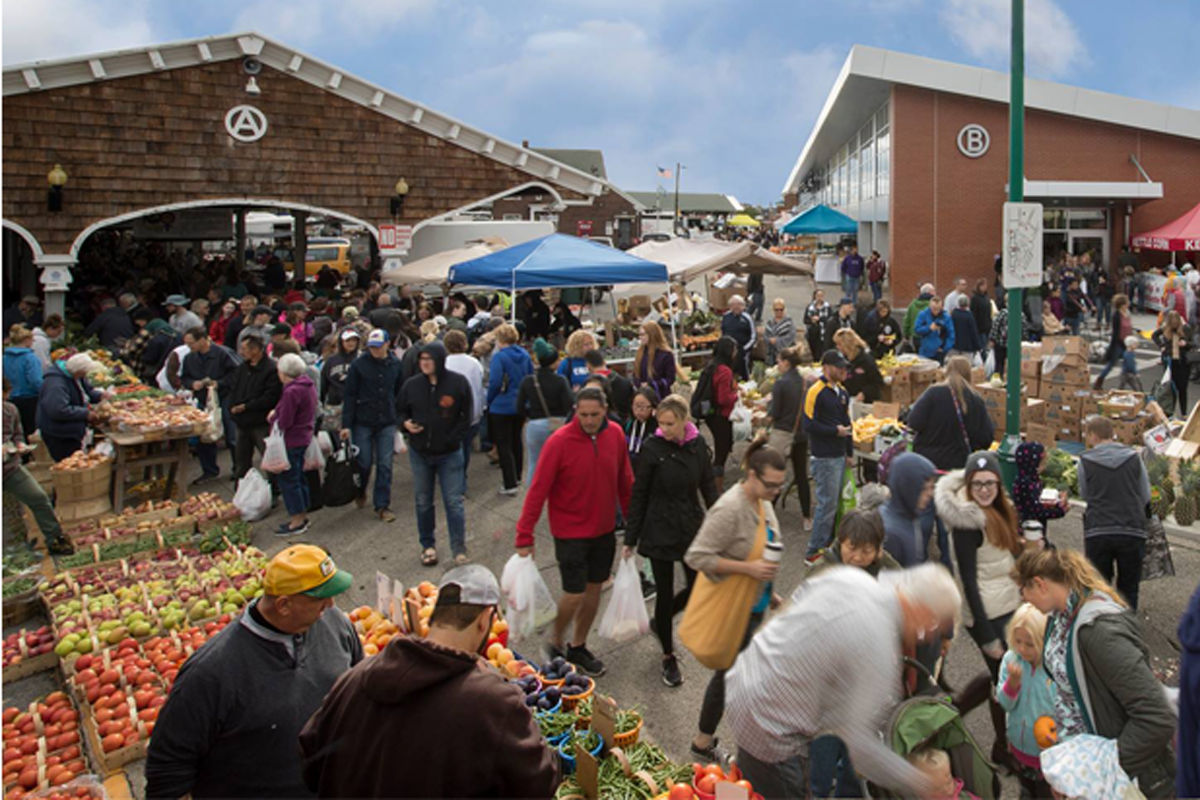 Shoppers gather at the Rochester City Market