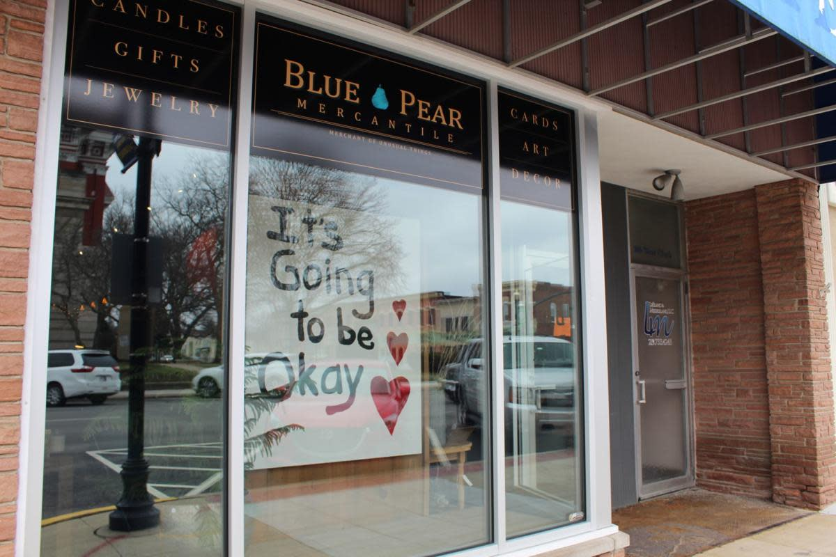 Blue Pear supportive sign