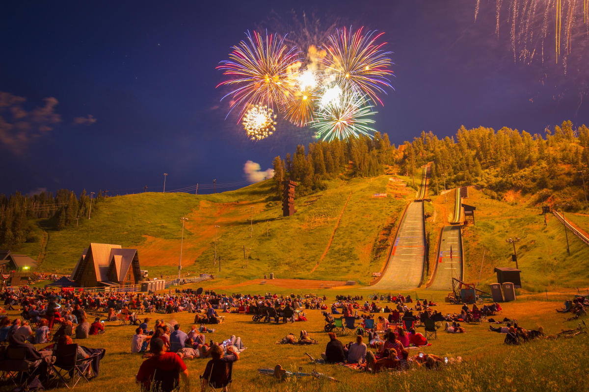 Fourth of July Fireworks display over Steamboat Springs, Colorado