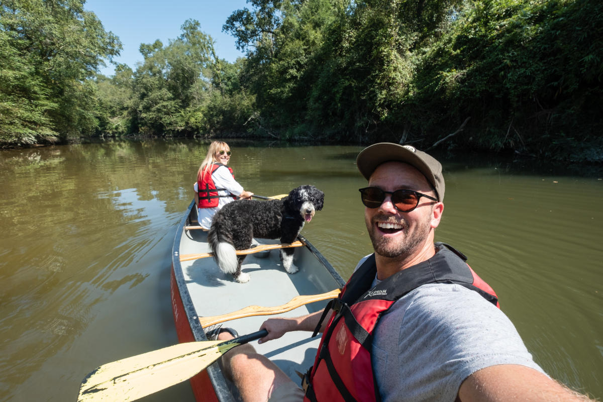Canoe and Trail Adventures, canoe with dog, Bogue Falaya
