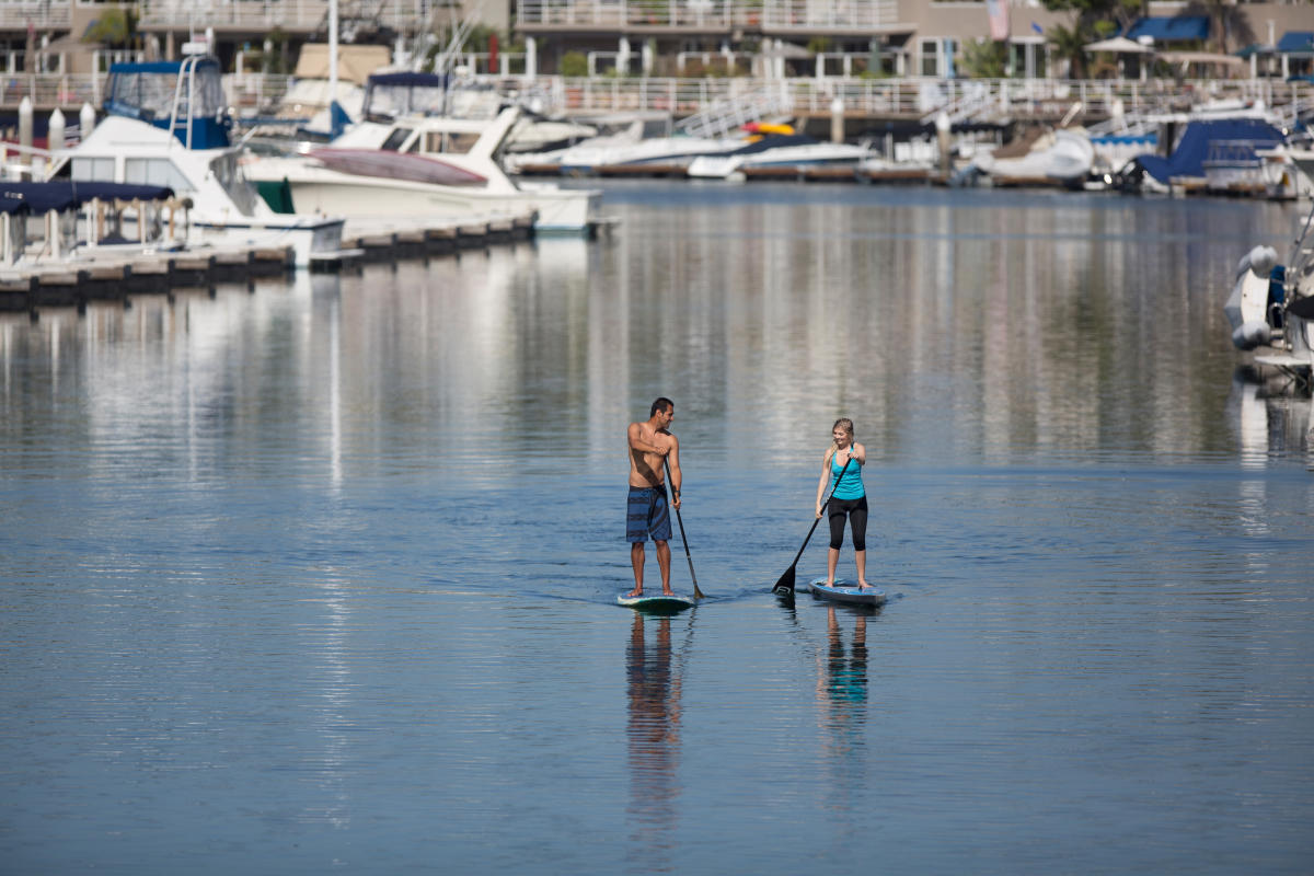 Paddleboarding in Huntington Beach