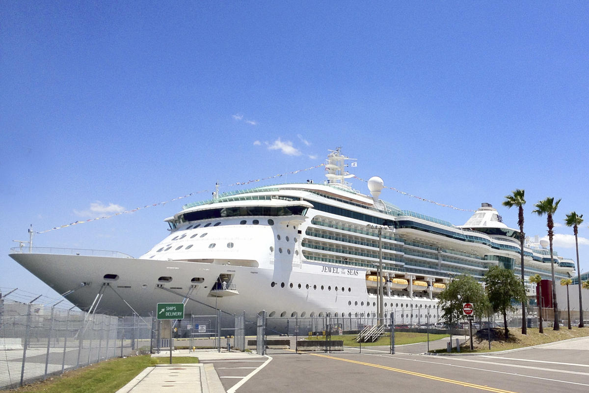 A cruise ship parked at the terminal at Sparkman Wharf and Port Tampa Bay