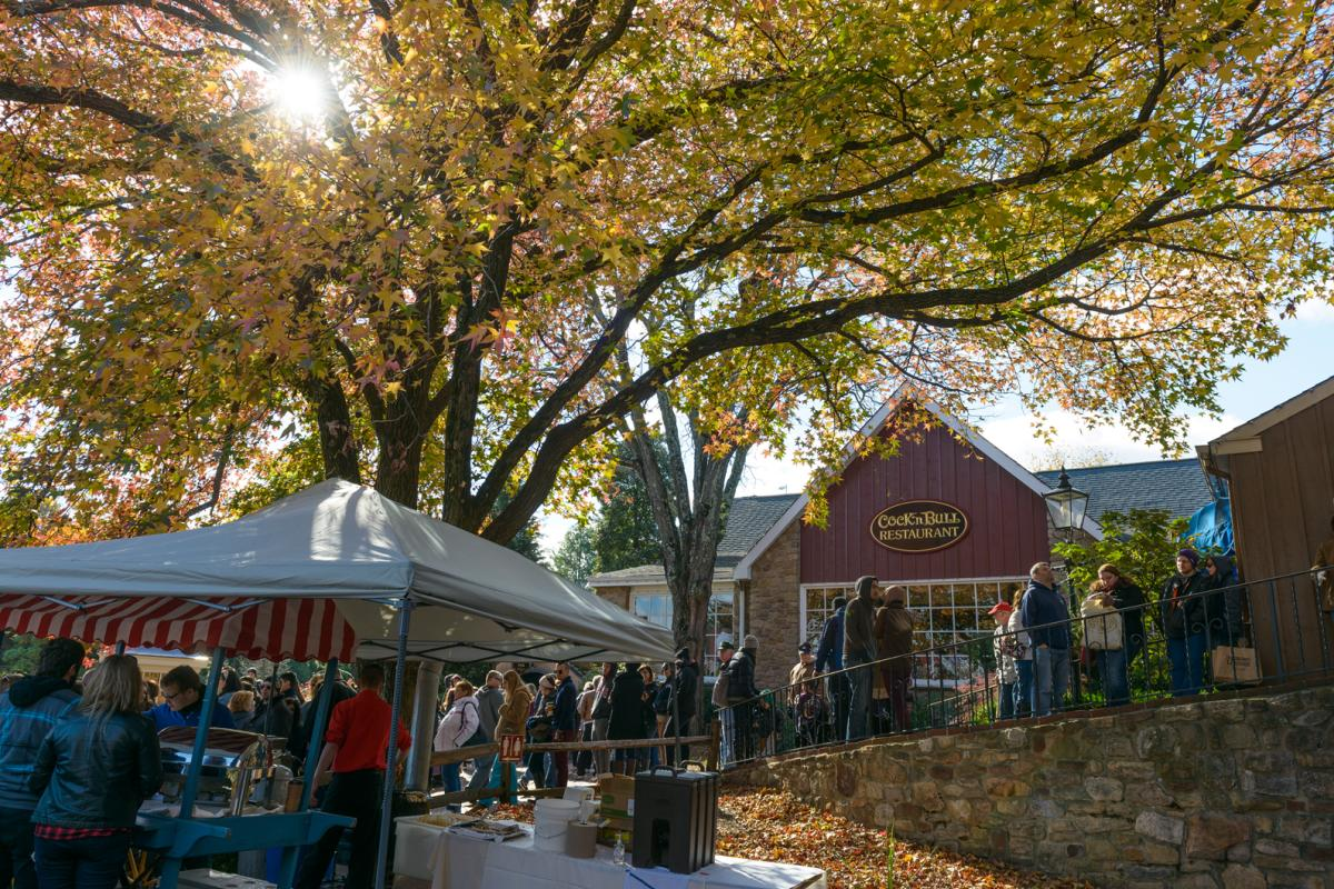 Crowd at Cock 'n Bull during Apple Fest in Peddler's Village