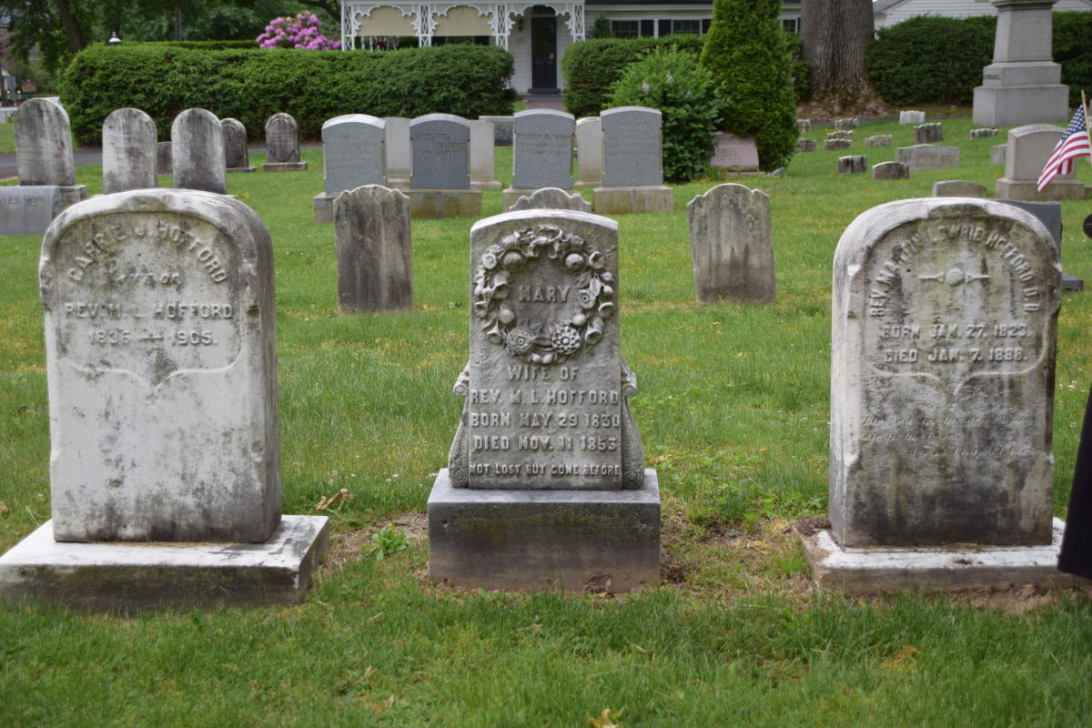 Three Tombstones in Cemetery