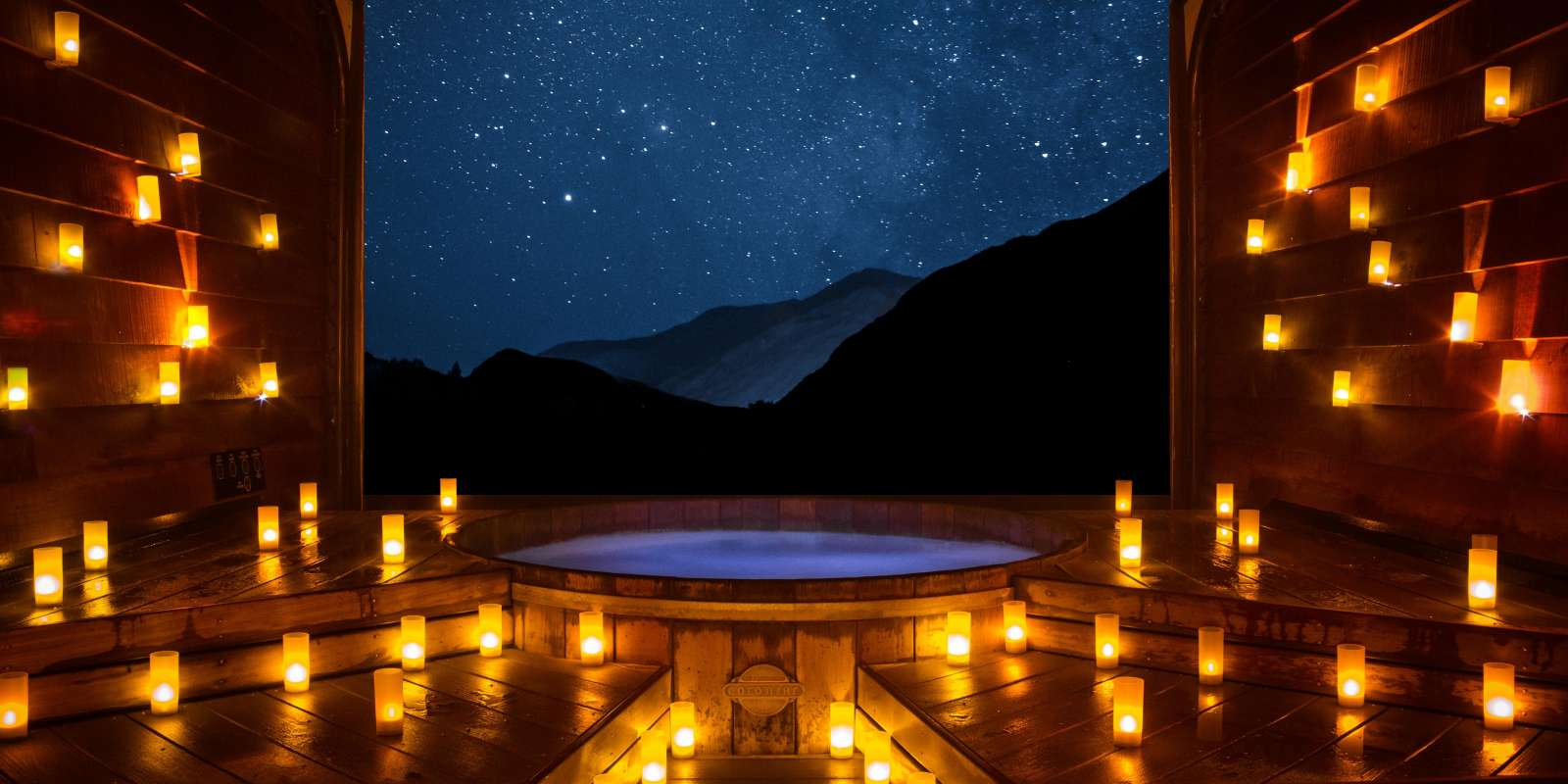 Onsen Hot Pools by night