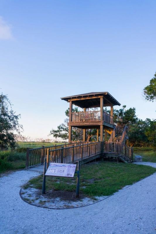 A viewing tower on the Wanderer Memory Trail on Jekyll Island, GA