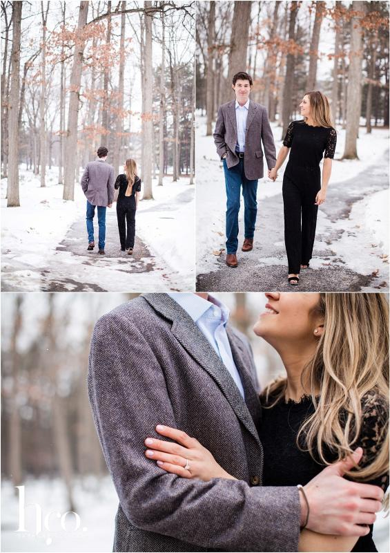Collage of winter engagement photo shoot on Avenue of the Pines in Saratoga Spa State Park