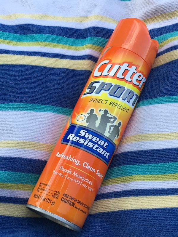 Bug spray on beach towel for day trip to Big Falls