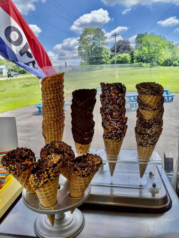 Selection of Ice Cream Cones at Reese's Dairy Bar