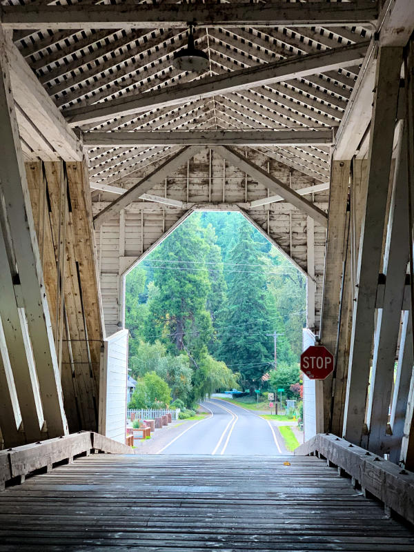 View from inside Westfir's historic Office Covered Bridge.