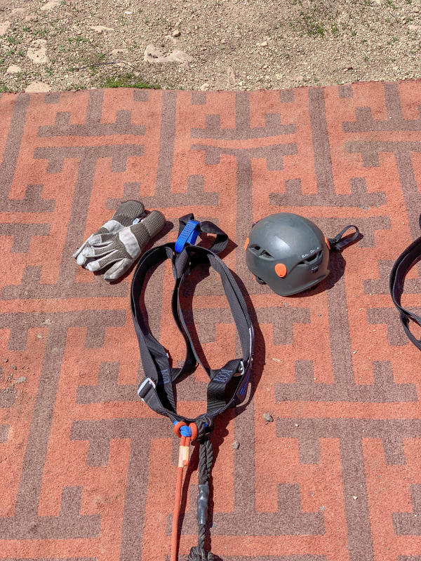 Gloves, helmet and harness