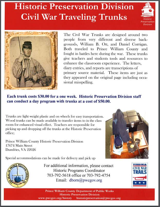 Flyer for Historic Preservation Civil War Traveling Trunk