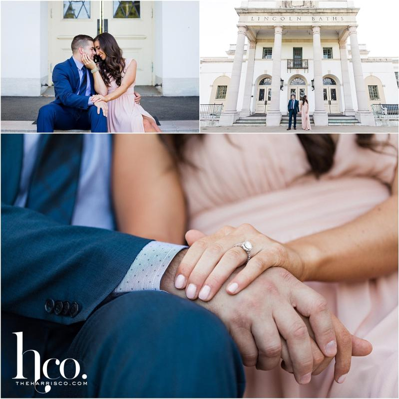 Collage of couple's engagement photos at Lincoln Baths in Saratoga NY