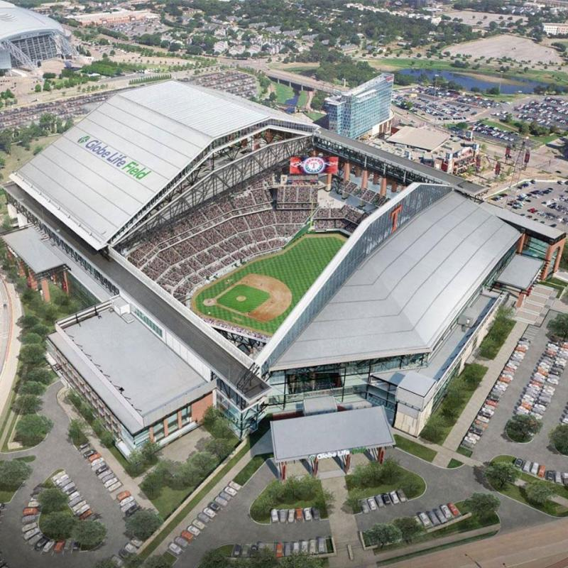 Aerial rendering of Globe Life Field