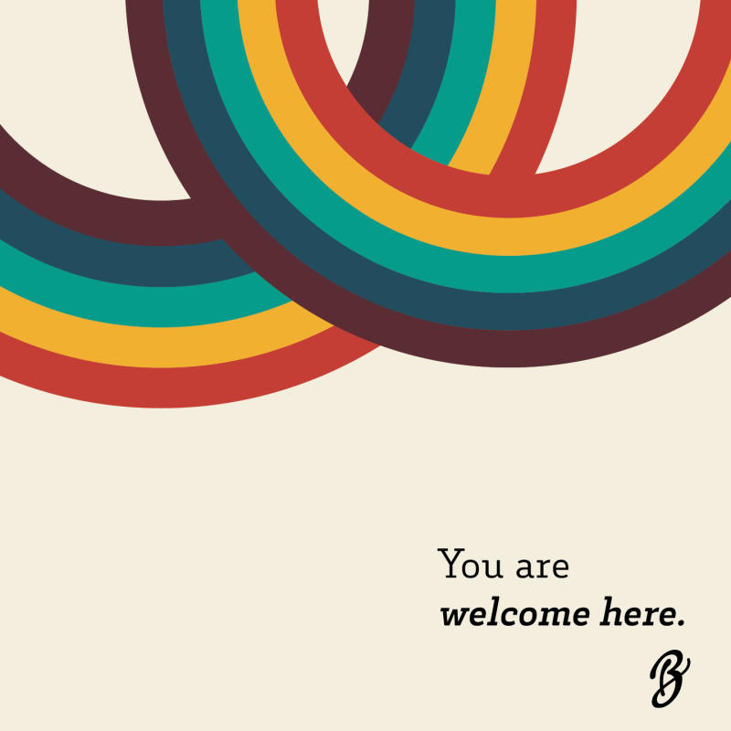 You are welcome here rainbow graphic