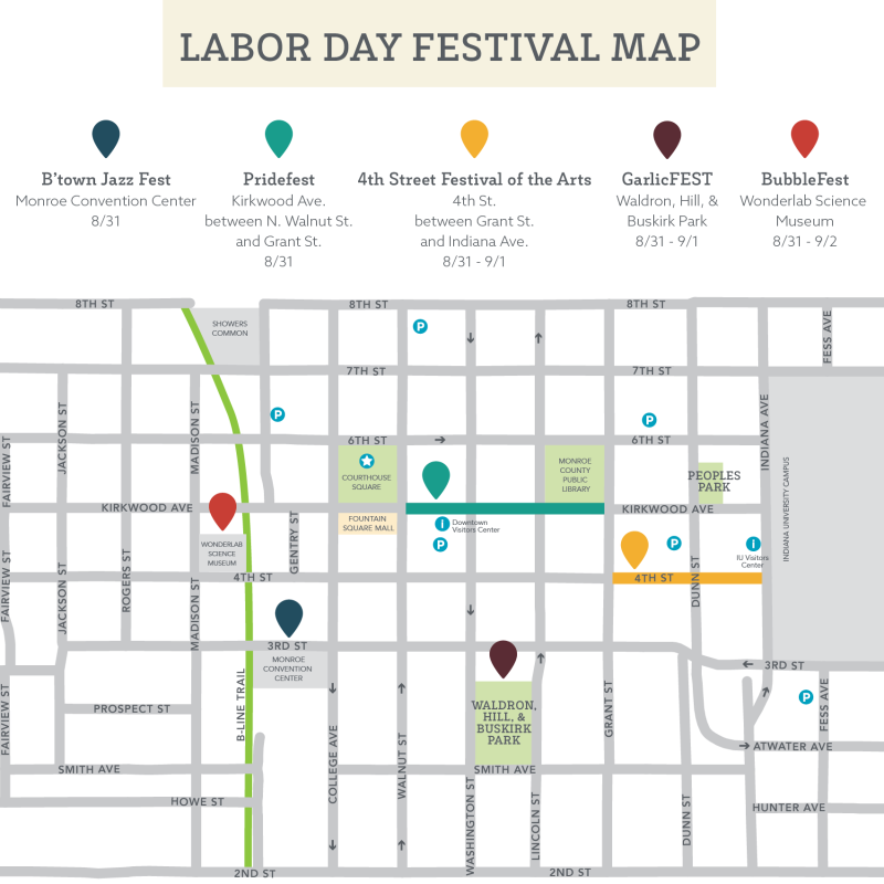 map of Bloomington Labor Day events