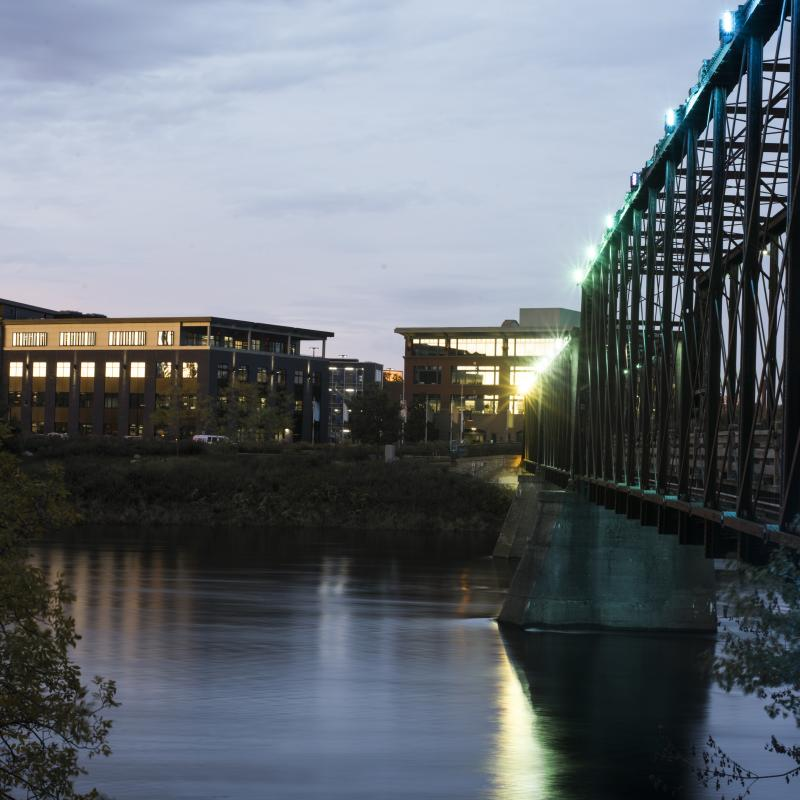 Chippewa River in downtown Eau Claire near Jamf Software & Royal Credit Union