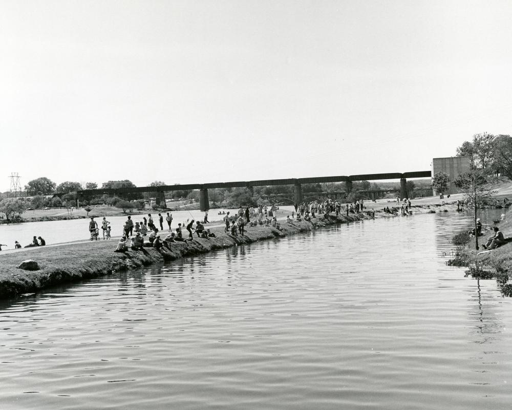 Historic black and white photo of Town Lake