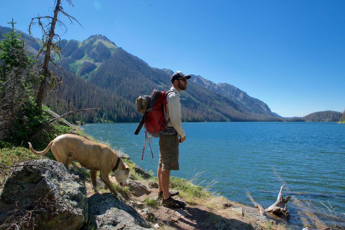 Emerald Lake Hiker with Dog