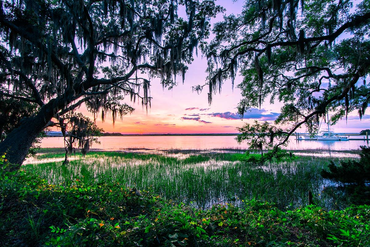 Gascoigne Bluff provides a breathtaking location to watch the sunset on St. Simons Island, GA