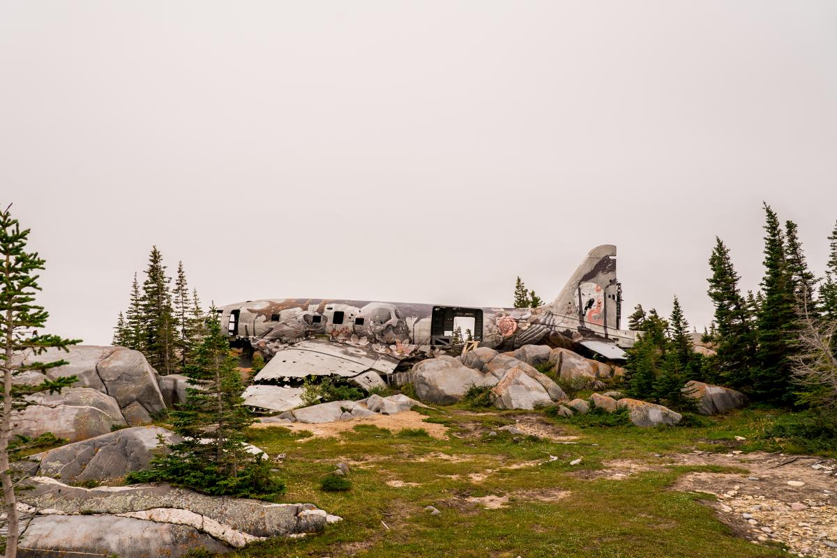 View of Miss Piggy cargo plane wreck near Churchill, Manitoba
