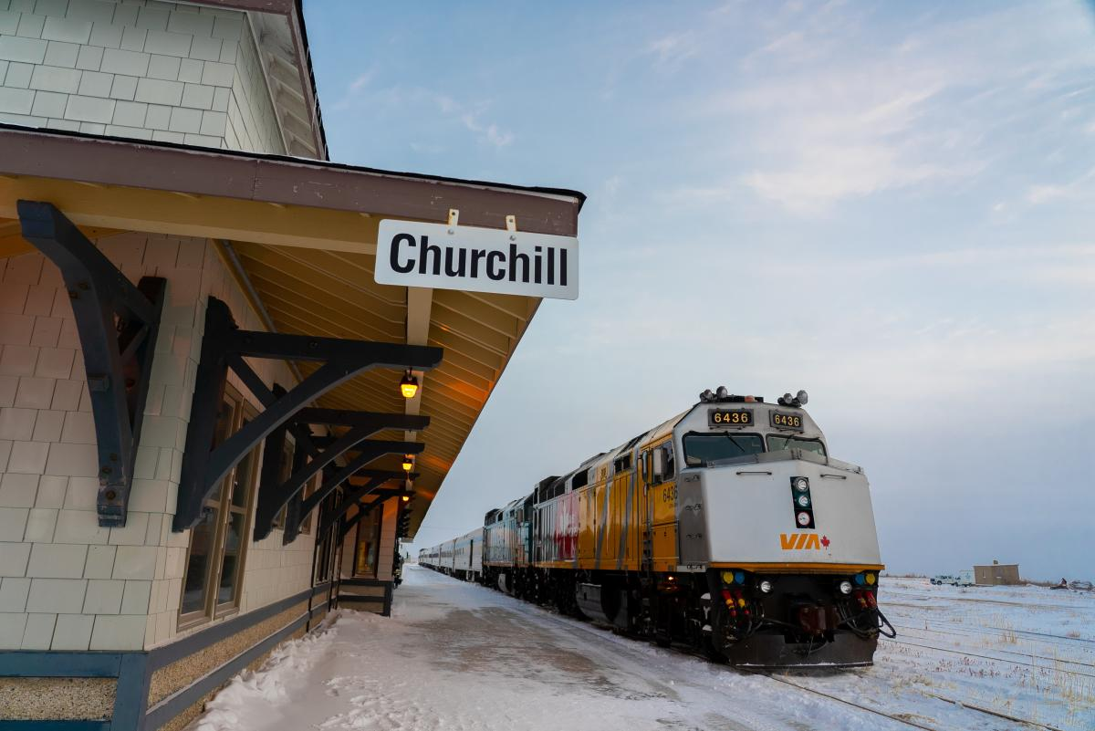 Train waiting at the Churchill Train Station in winter