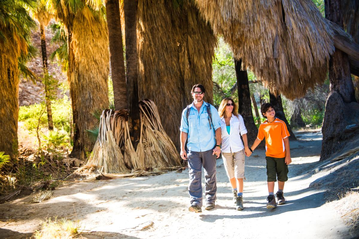 Family hiking in tahquitz canyons