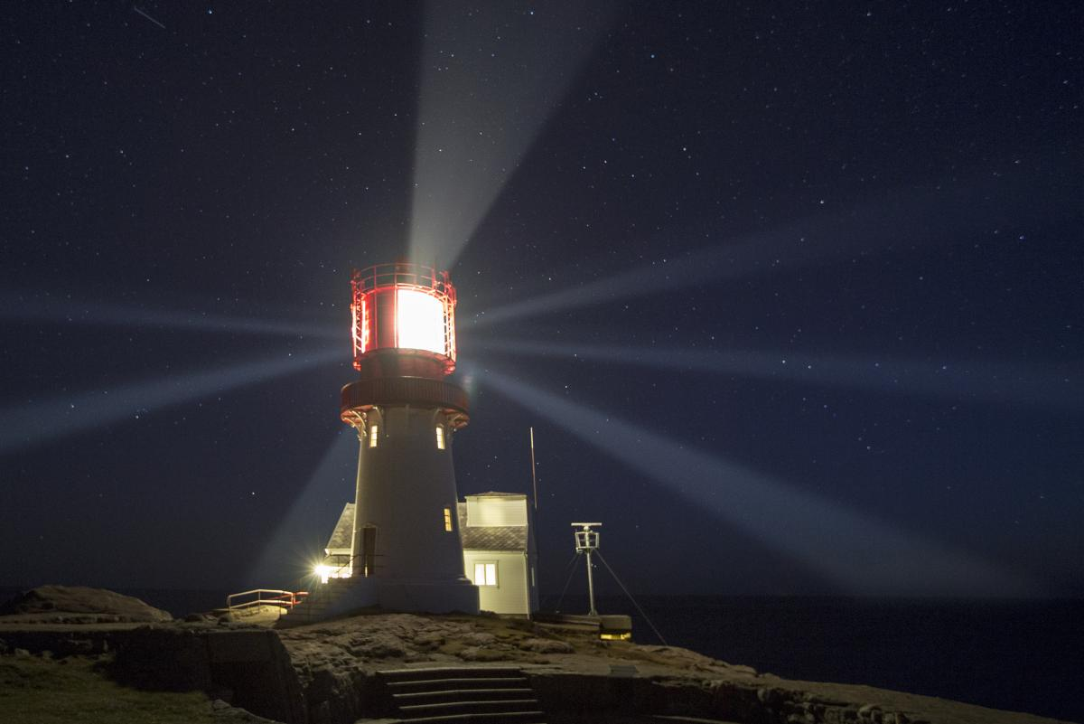 Lindesnes lighthouse at night