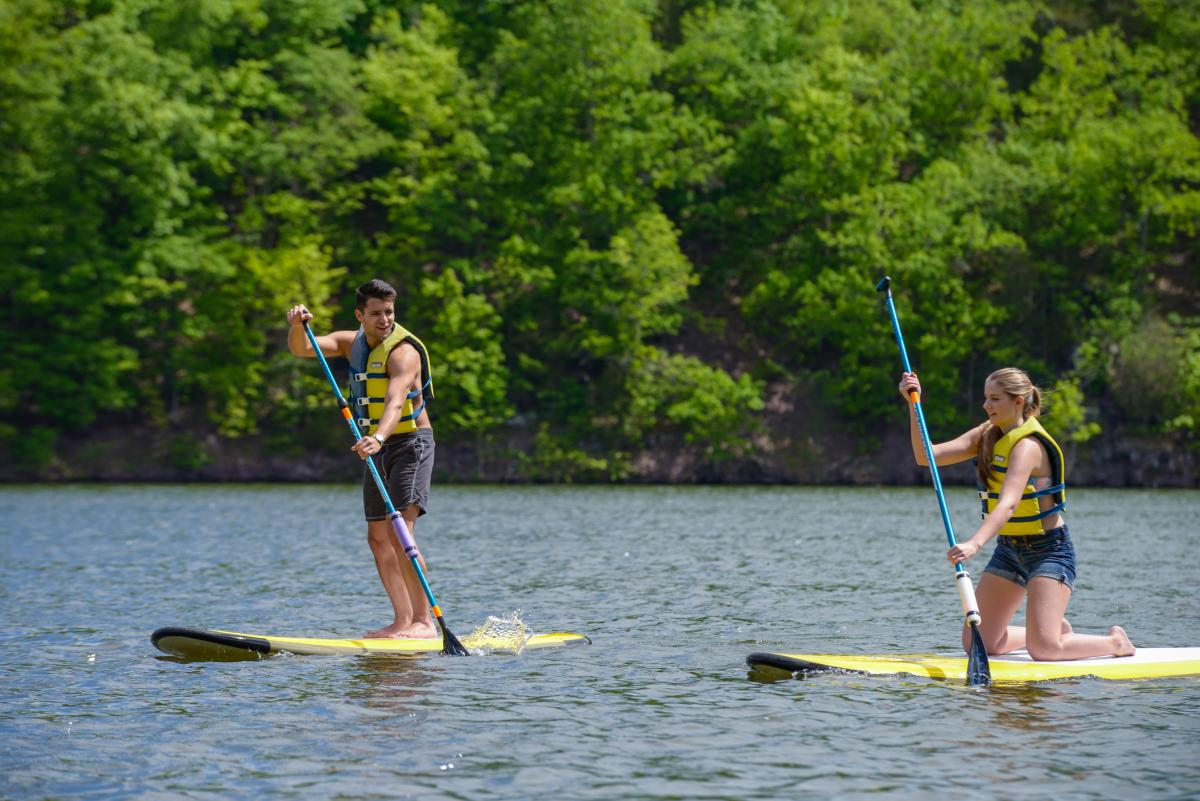 Paddle boarding in Green Lane Park 2015
