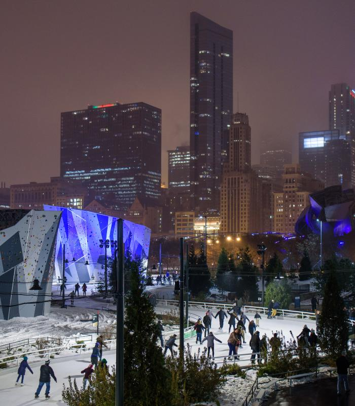 People ice skating at the Maggie Daley Skating Ribbon in Chicago