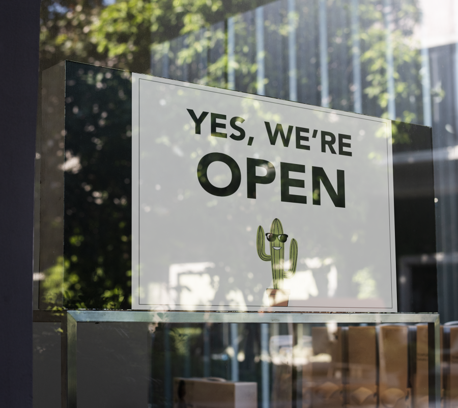 Yes, We're Open Sign Mockup