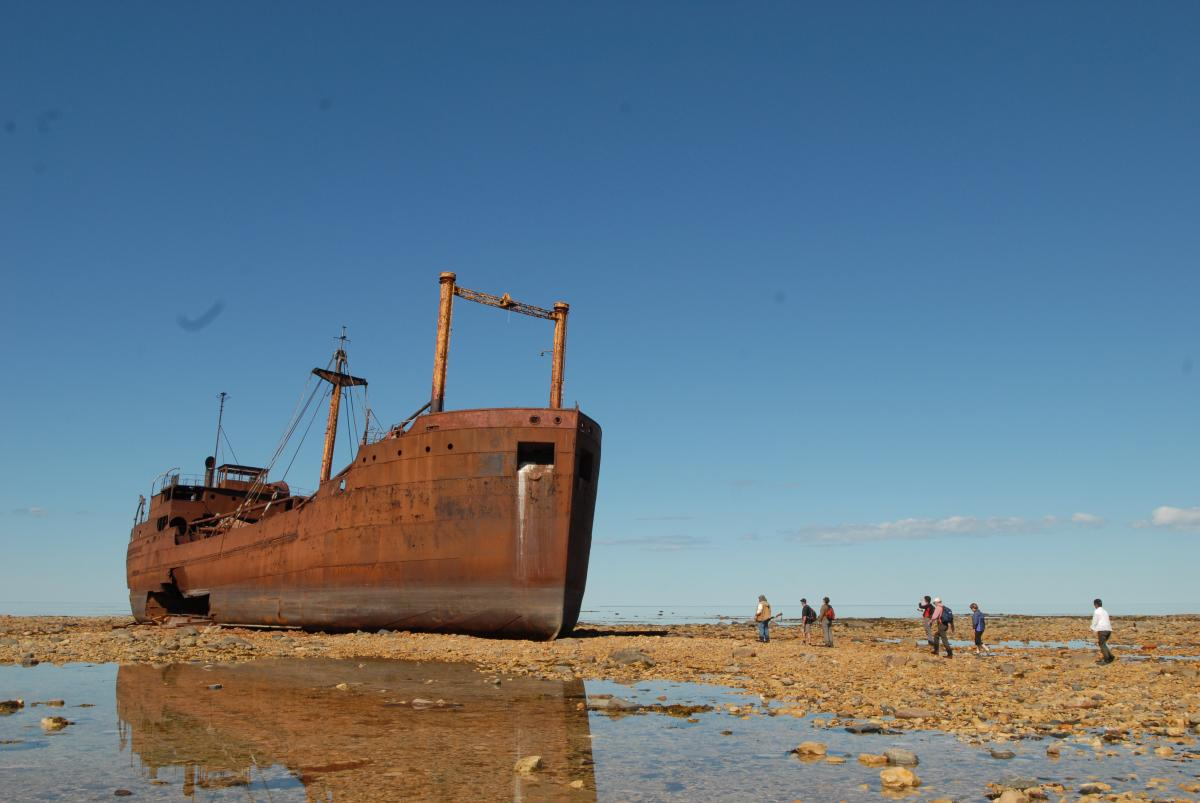 Wreck of the MV Ithaca on the shore of Hudson Bay near Churchill