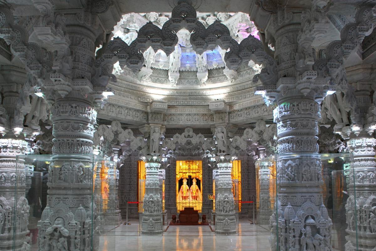 Interior of the BAPS Shri Swaminarayan Mandir in Barlett, IL