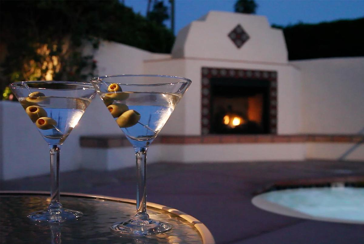 Two martinis by the pool at the Hacienda at Warm Sands