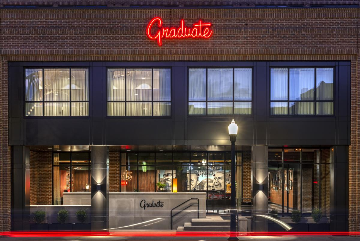 The Graduate Hotel in central Columbus combines modern features and a brick exterior.