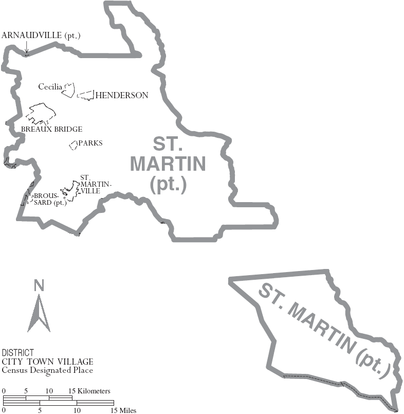 Map of St. Martin Parish, Louisiana With Municipal Labels