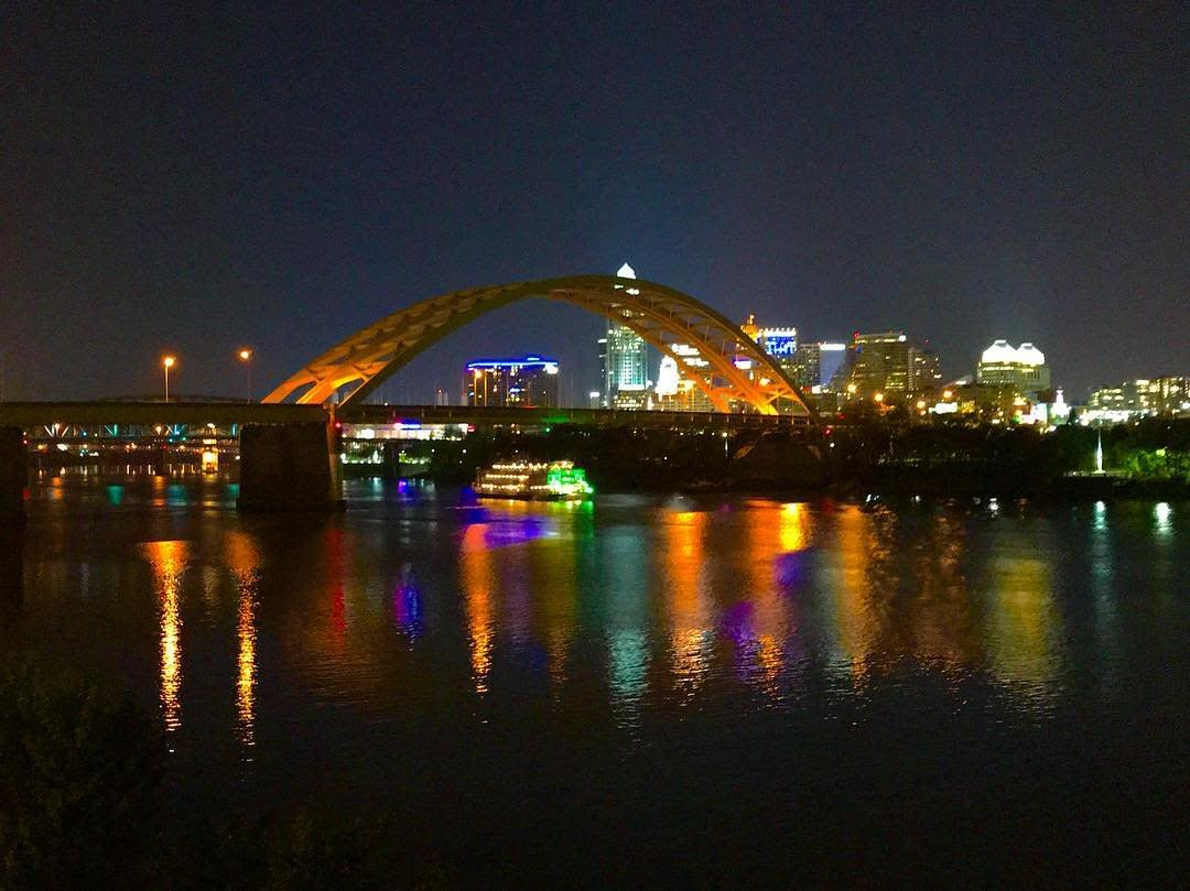 Night view of Daniel Carter Beard Bridge with Cincinnati Skyline from Chart House in NKY