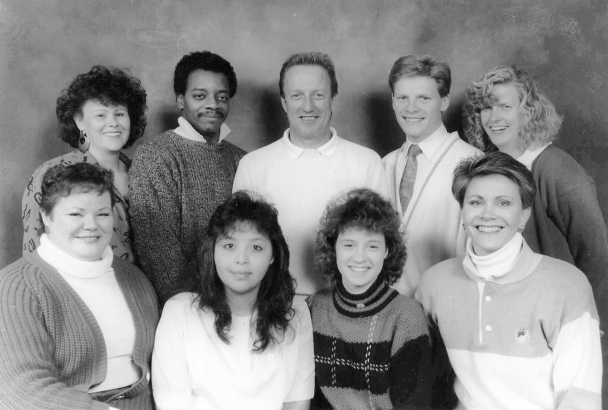 Back Row:  MaryAnn Streeper, Ed Nunn, Bob Bailey, Mark Dixon, Sue Whaley | Front Row: Becky Konishi, Unknown, Stephanie Floisand, Raelene Davis