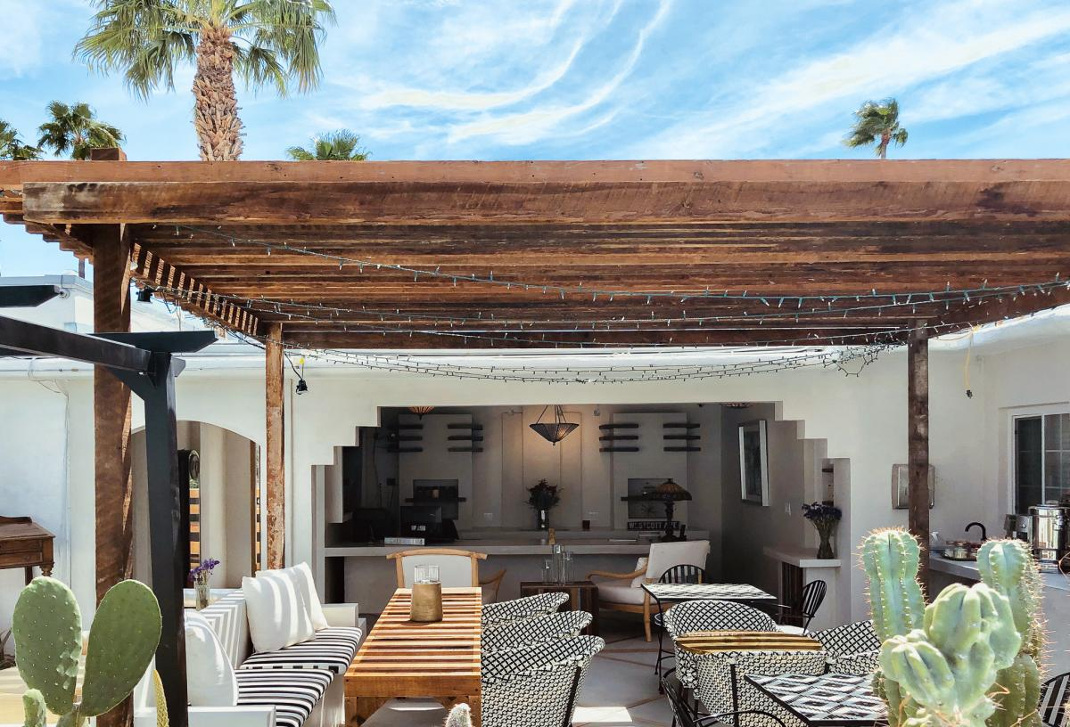 Seating at the Westcott Palm Springs boutique hotel