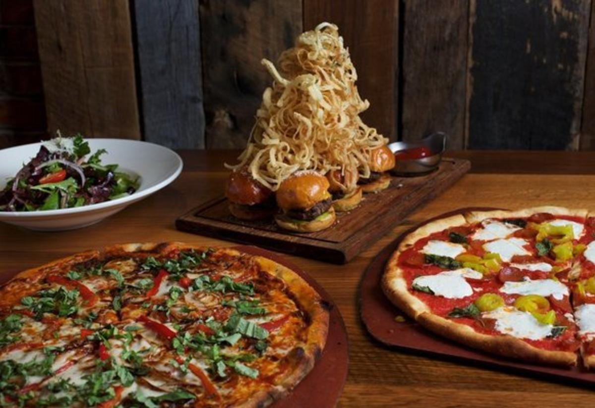 pizza, burgers and salad at Matchbox restaurant at Potomac Mills