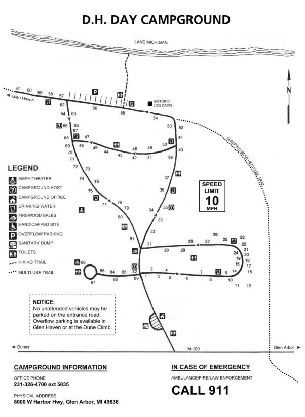 D.H. Day Campground Map
