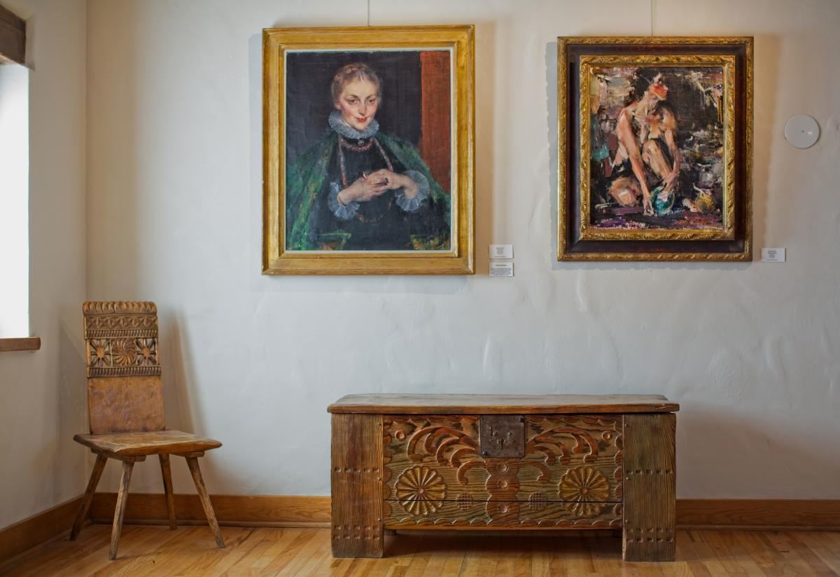 The Taos Art Museum includes Nicolai Fechin's hand-carved furniture and architectures=.